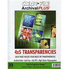 Clearfile 18B (34B) Negative Pages 4x5in Archival Plus (25)