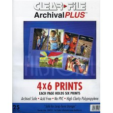 Clearfile 35B Print Pages 4x6in Archival Plus Pack of 25