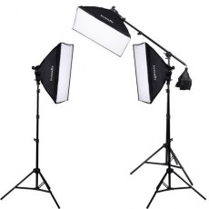 Interfit F5 Three Head Fluorescent Softbox Kit with Boom Arm