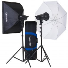 Interfit INT 906 F121 200w Twin Head Kit c/w Softbox, Umbrella & Bag