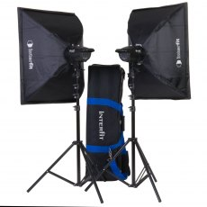 Interfit INT 907 F121 200w Twin Head Kit c/w Softboxes & Bag