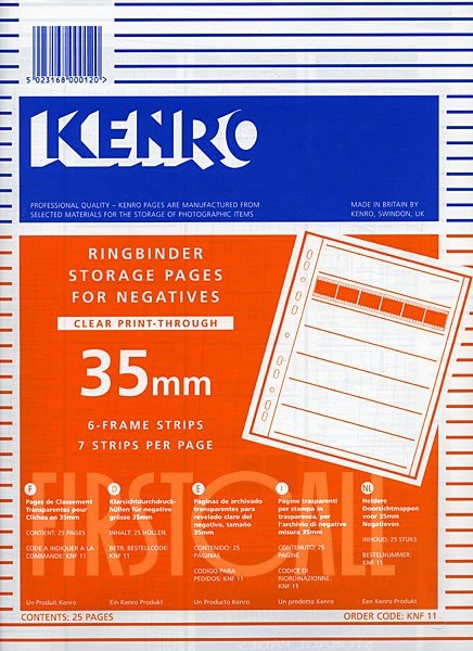 Kenro Kenro Negative Pages, Print Thru Acetate, 35mm, 25 sheets