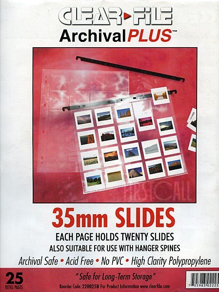 Clearfile Clearfile 22B Slide Pages 35mm Archival Plus Pack of 25