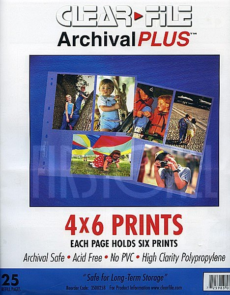 Clearfile Clearfile 35B Print Pages 4x6in Archival Plus Pack of 25