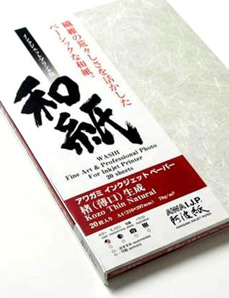 Awagami Awagami Kozo Thin Natural, A4, Pack of 20