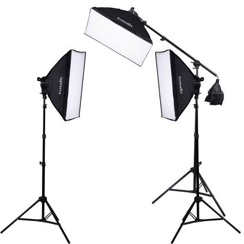 Interfit Interfit INT 503 F5 Three Head Fluorescent Softbox Kit with Boom Arm