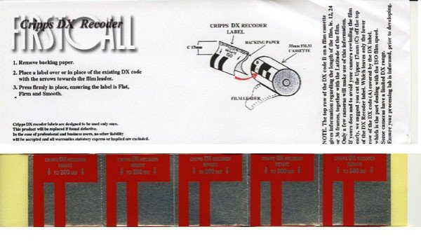 Firstcall Firstcall DX Recoder Labels, ISO 200